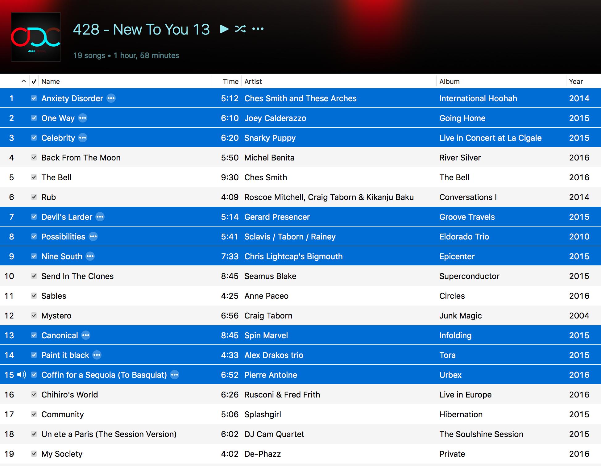 Jazz ODC #428 - New To You 13 - Playlist