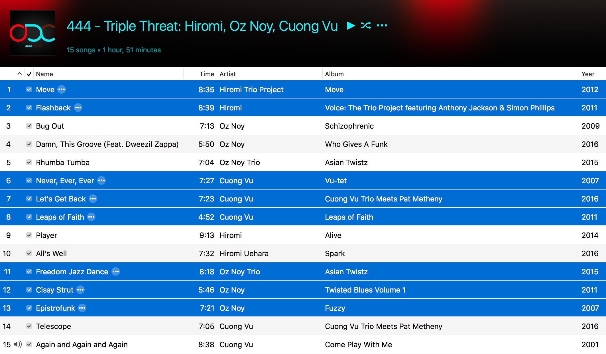 Jazz ODC #444 - Triple Threat - Playlist