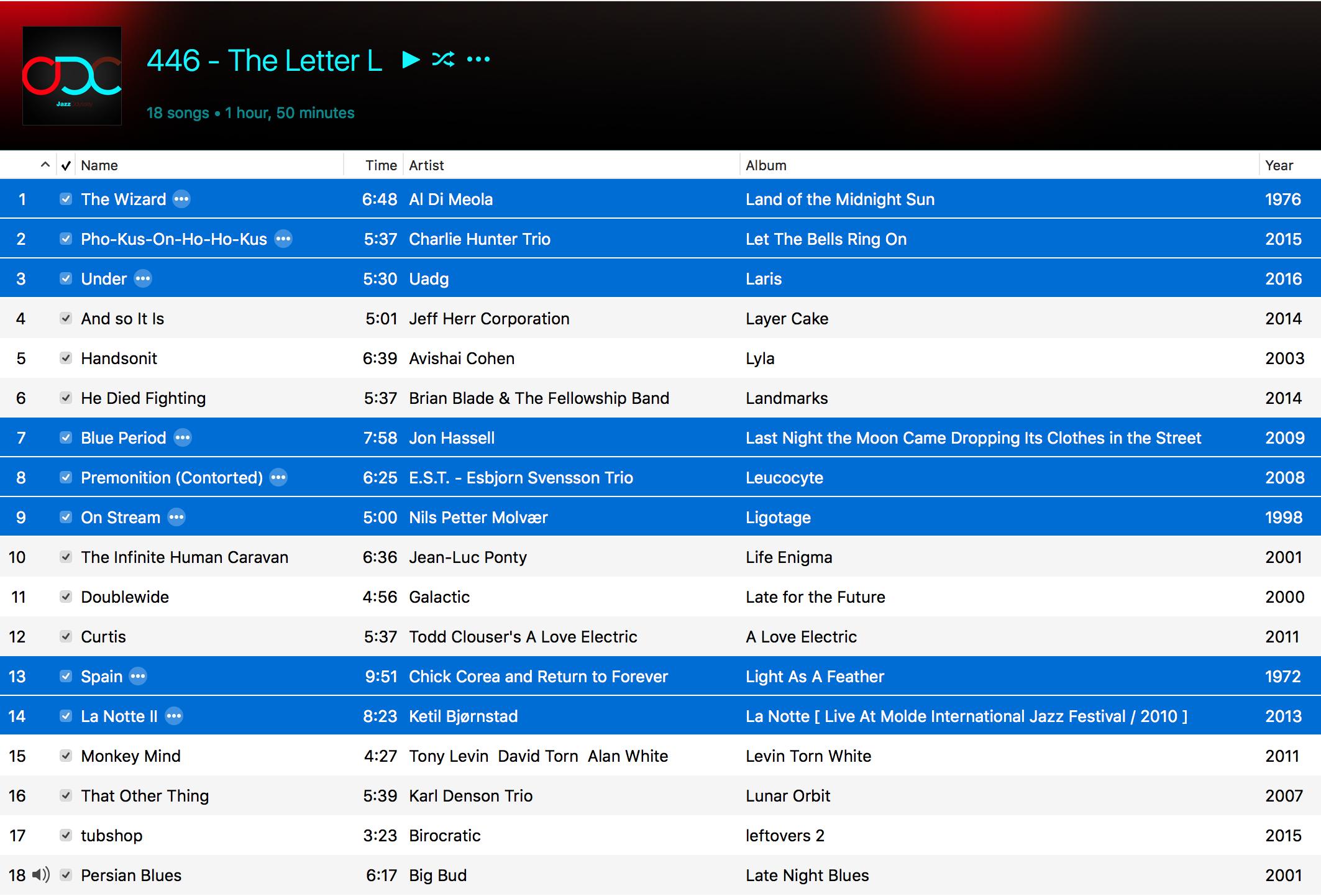Jazz ODC #446 - The Letter L - Playlist