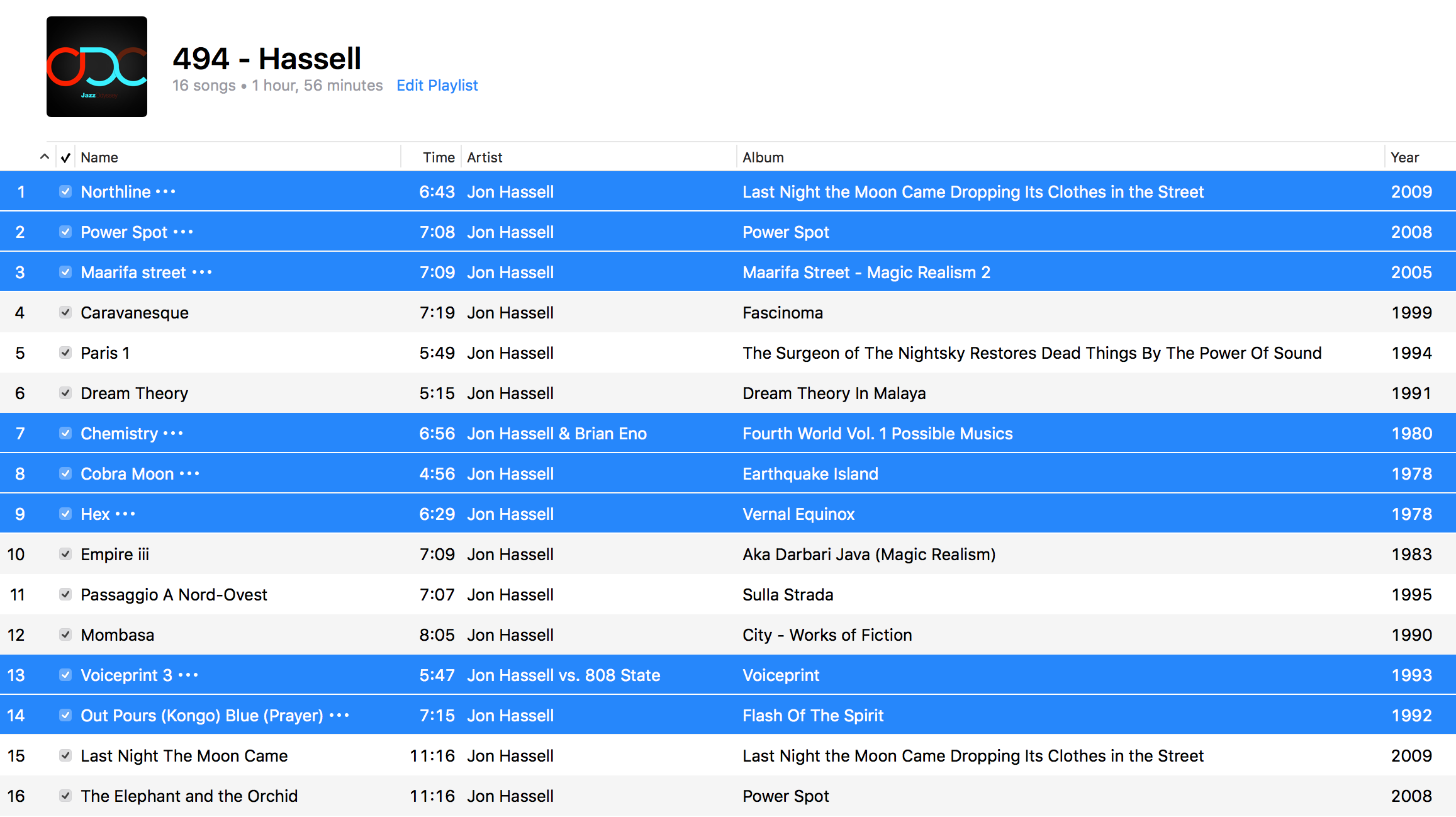 Jazz ODC #494 - Hassell - Playlist