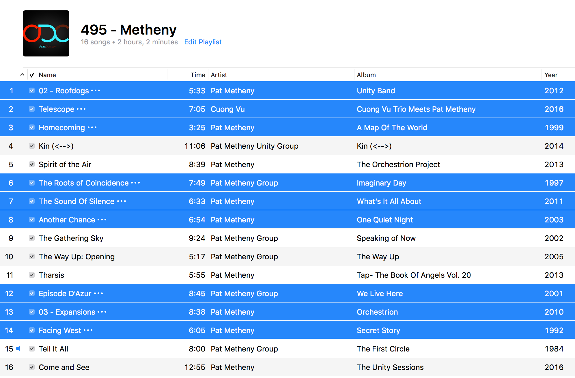 Jazz ODC #495 - Metheny - Playlist