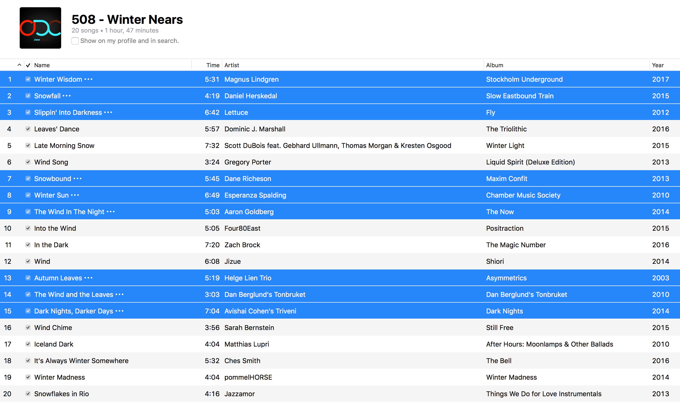 Jazz ODC #508 - Winter Nears - Playlist