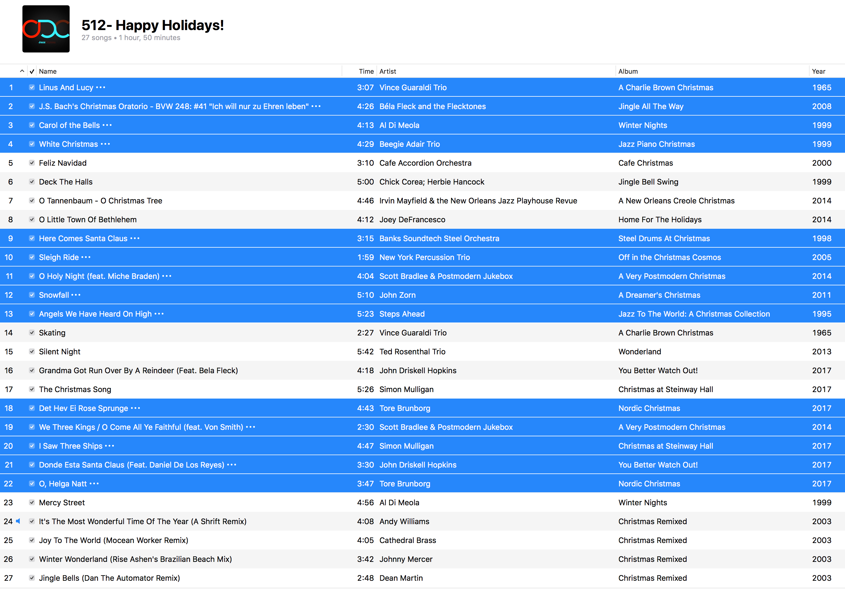 Jazz ODC #215 - Happy Holidays! - Playlist