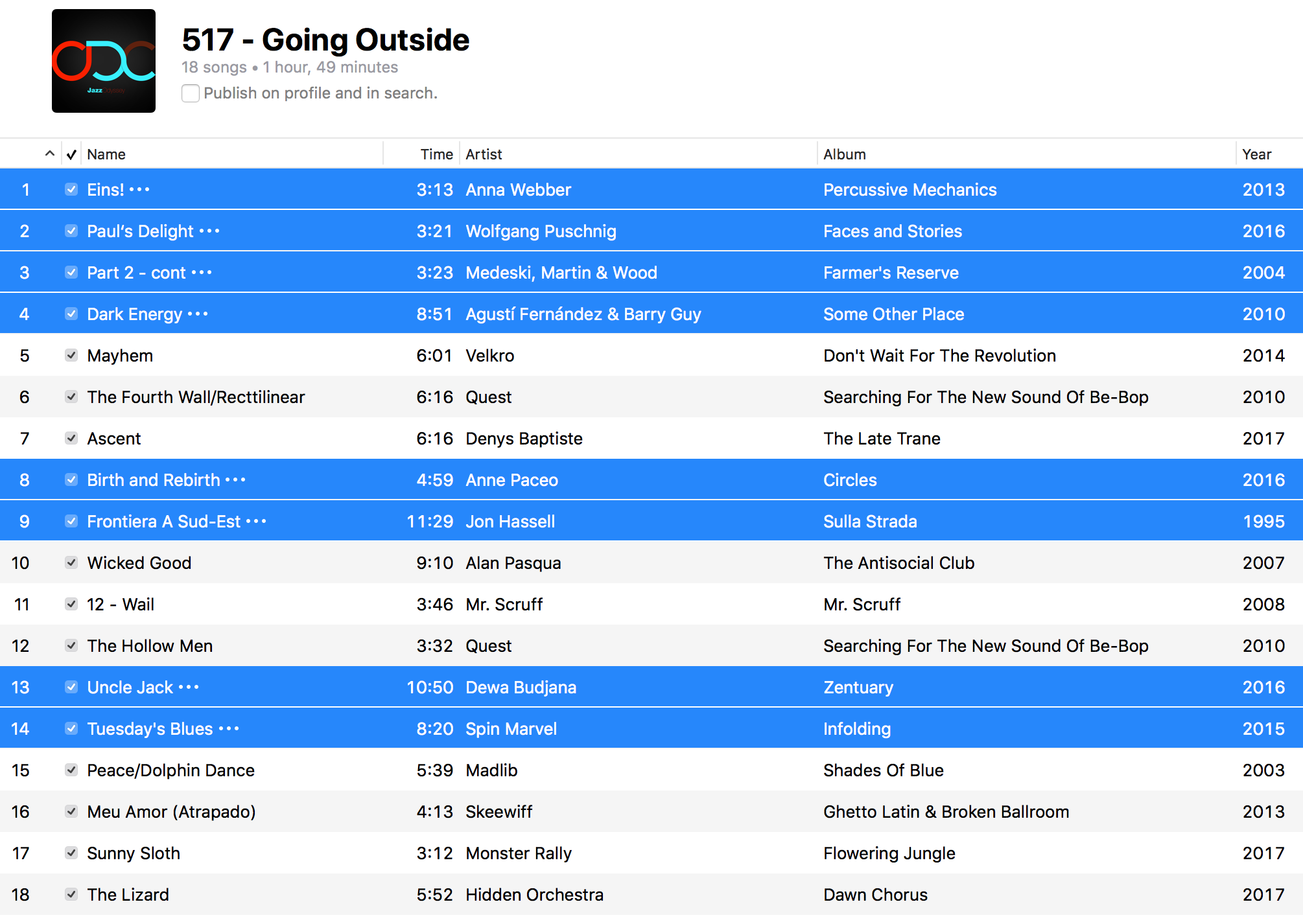 Jazz ODC #517 - Going Outside - Playlist